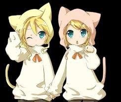 Rin et Len en chat, comme ils sont mignons o.O