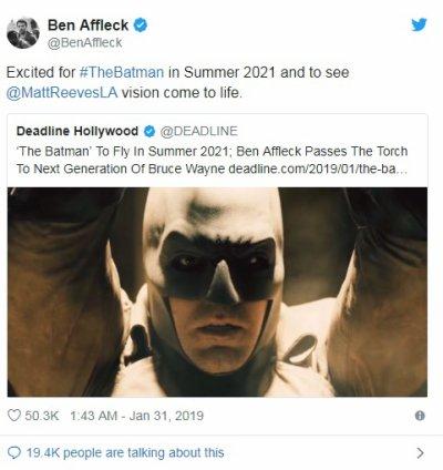 Ben Affleck ne sera pas dans The Batman