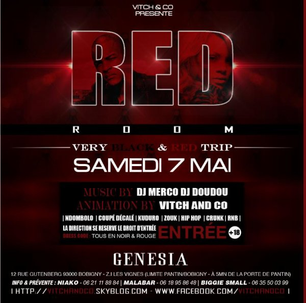 RED ROOM Very Black/Red Trip 7Mai au GENESIA
