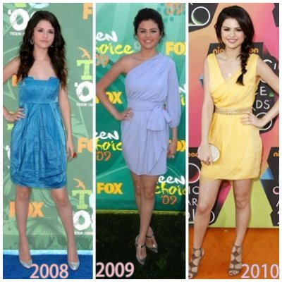 Evolution de Selena Gomez lors des Teens Choices Awdards de 2008 à 2010