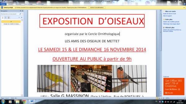 EXPOSITION D'OISEAUX