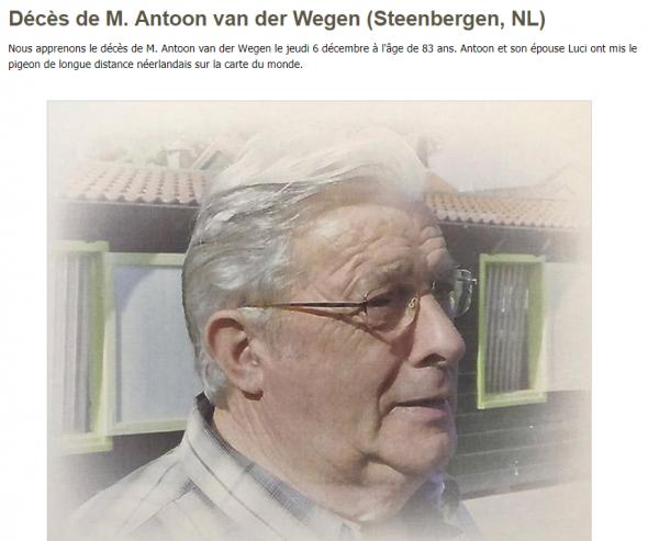Décès de M. Antoon van der Wegen (Steenbergen, NL)