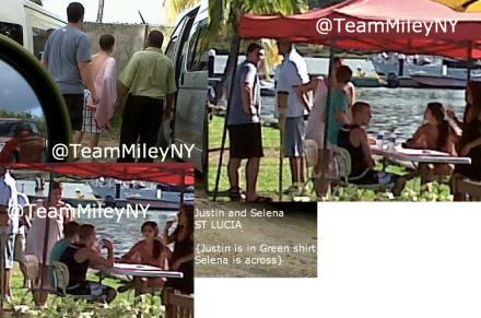 Justin et Selena Gomez passent quelques jours sur l'île de St Lucia, accompagnés de Scooter Braun, Ryan Butler et la cousine de Selena...