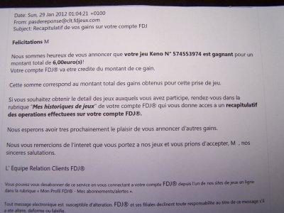 gains du samedi  28/01/2012