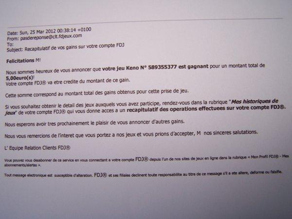 samedi 24 mars 2012 tirage  de 13h45 et 21h00
