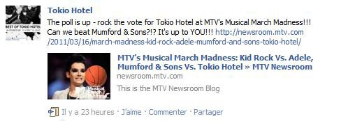 || Article 5885 || Tokio Hotel : Facebook