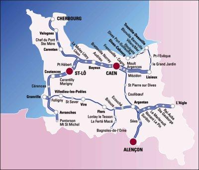 Carte du réseau ferrée Bas-Normand