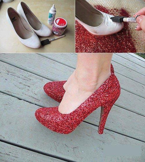 Customisation Chaussures Effet pailletée#