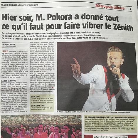 suite du concert de M.Pokora à Lille le 18 avril 2015