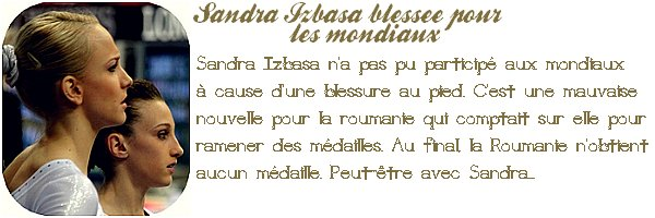 SANDRA IZBASA BLESSEE POUR LES MONDIAUX