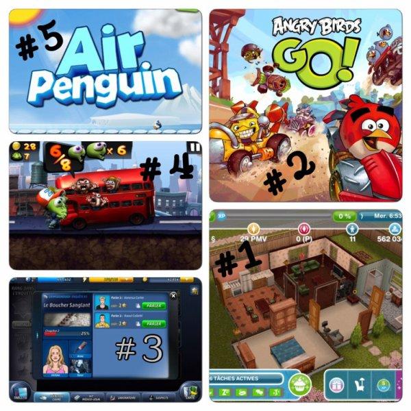 Top 5 jeux préfères AppStore