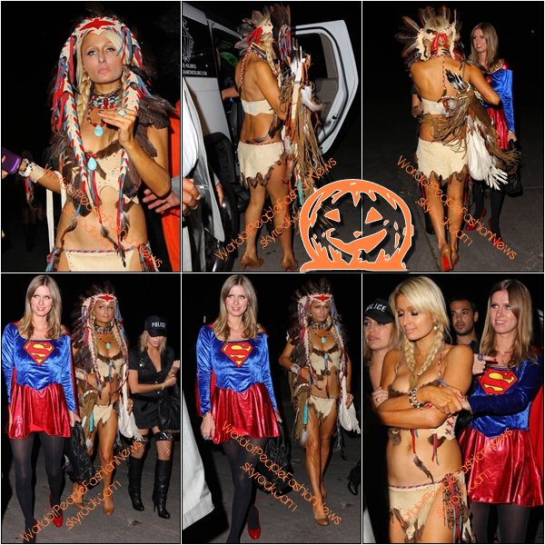 Coup de ♥ Musical. Spécial Halloween !   30/10/10 :   La fête d'Heidi Klum a New York avec Kim Kardashian,Russell Simmons ( qu'est ce que un prêtre vient foutre ici, c'est la soirée des morts et du mal !), Coco (la fille en infirmier, je déteste son costume, c'est vulgaire dégoutant, dégradant, répugnant...), Ice-T ( le grand fou, qui accompagne la grande Tepue), Irina Shabayeva ( en marinier, avec comme accessoire le soutif' rouge apparent, originale... ), Camilla ( c'est la fille tout gris, je n'ai, pas réussi a déterminer son déguisement. Un peu ce ne sera pas de refus ...) ,.Kelly Choi( la mariée avec un trou dans l'½sophage ..), Ashanti ( la tigresse noir, un pas sexy du tout) et pour ceux qui n'aurai pas compris Heidi est le grand robe violet et orange et son mari Seal et le petit robot blanc. Qui sont drôle...  +  30/10/10 :  Paris & Nicky Hilton   a  Playboy Mansion .  +  30/10/10 :   Katie Holmes  et sa fille Suri Cruse  a  Los Angeles .  .Coup de ♥ Musical.