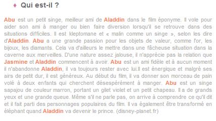 Article 14 - Personnage de Aladdin : Abu