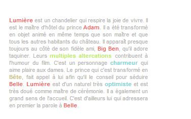 Article 8 - Personnages de La Belle et La Bête : Big Ben et Lumière