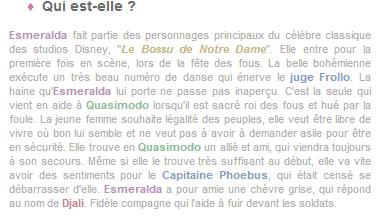 Article 38 - Personnage du Bossu de Notre-Dame : Esmeralda