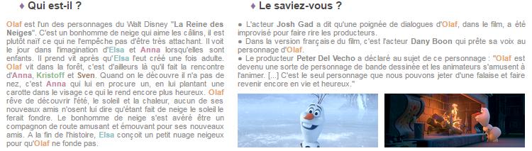 Article 61 - Personnage de La Reine des Neiges : Olaf