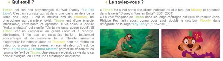Article 64 - Personnage du Roi Lion : Timon
