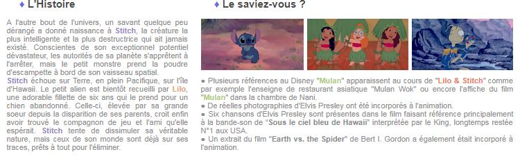 Article 72 - Walt Disney : Lilo et Stitch