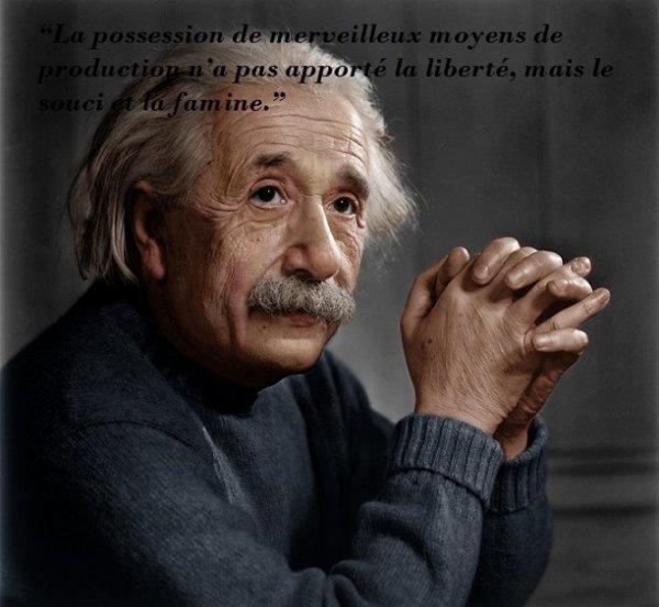 """""""La possession de merveilleux moyens de production n'a pas apporté la liberté, mais le souci et la famine."""""""