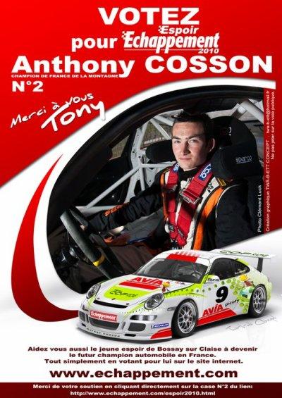 Tony Cosson, en route pour le titre Espoir Echappement 2010