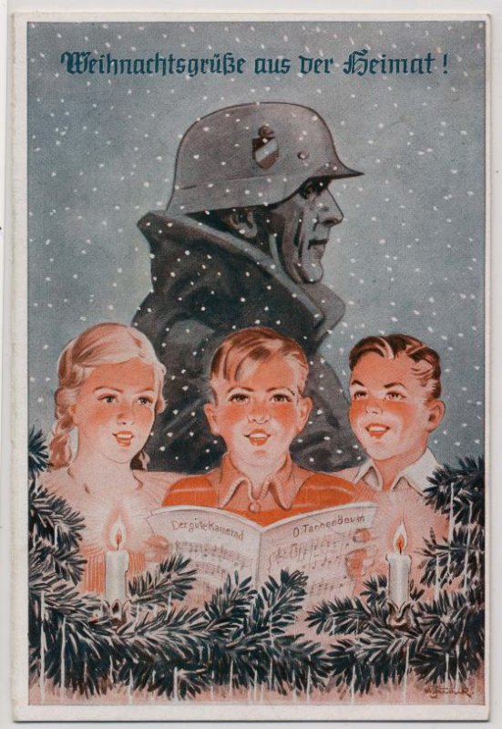 Exemple de carte de V½ux de fêtes de noël du pays pour nos soldats sur le front ,,,Weihnachtsgrüsse aus der Heimat für die Soldaten an der Front