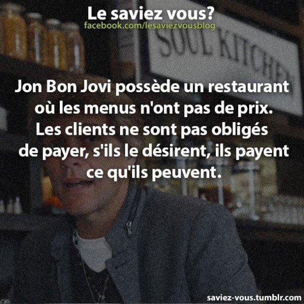 Saviez-vous cela sur Jon Bon Jovi ?