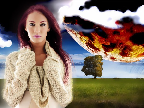 Montage Photo : Megane Foxx / Paysage Fond Ecran  By - Pin Up My Profil -Tm