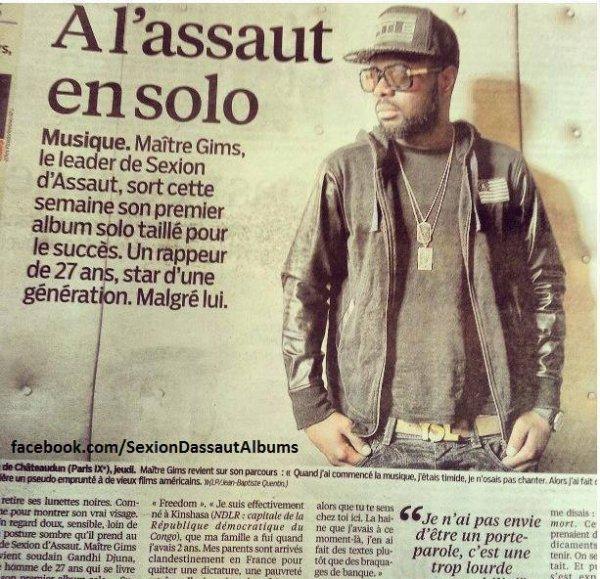 """""""Maitre Gims dans Le Parisien pour la sortie de """"Subliminal"""" #DREAM Sexion D'Assaut - L'apogée"""""""