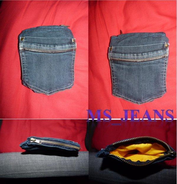 un porte monnaie en jeans en forme de poche