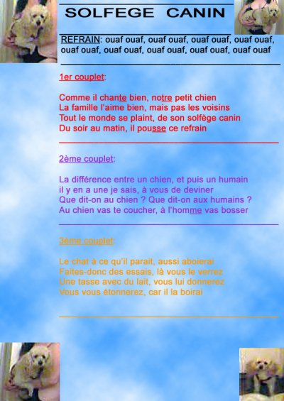 LE  SOLFEGE  CANIN  ( les paroles )