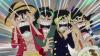 luffy,zoro,sanji et ussop en panique