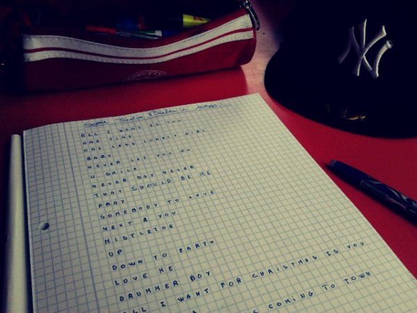 Hi! I'm in biology classroom and I'm bored so I write the song titles of Justin Bieber :)