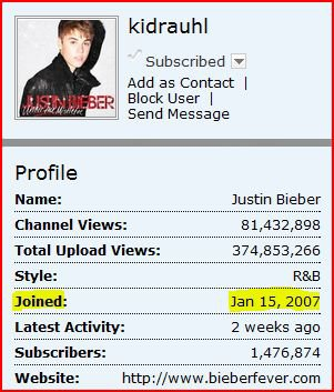 On 15 January, 2007 Justin Bieber created his YouTube channel Kidrauhl. The history began. :) Today is a great day: 5years of Kidrauhl!