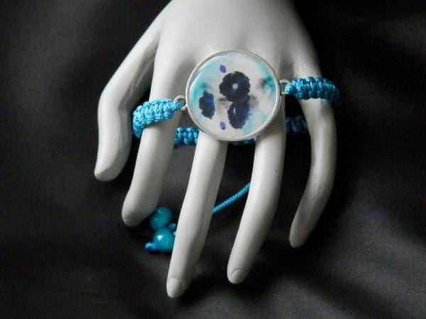 Bracelet shamballa fleur turquoise