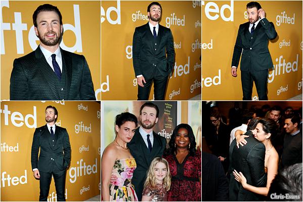 """● 4 Avril 2017 : Chris Evans c'est rendus à l'avant-première de son nouveau film """"Gifted"""" à Los Angeles. J'aime beaucoup comment il est habillé sur les photos, il est vraiment superbe et il a aussi retrouver ces Co-Star. TOP !"""