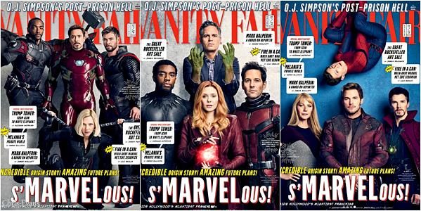 ● MAGAZINE : Découvrez enfin les quelques perso de l'univers de MCU pour le magazine Vanity Fair. J'adore les photos en tout cas, ils sont tous superbe dessus. Je vous est aussi mit les trois autres cover du magazine.