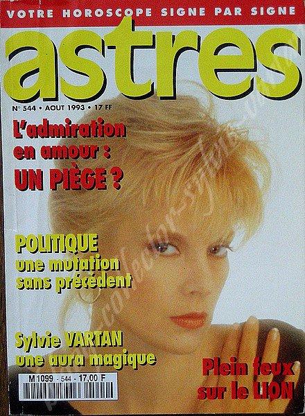 magazine astres d'aout  1993 avec en couverture Sylvie Vartan