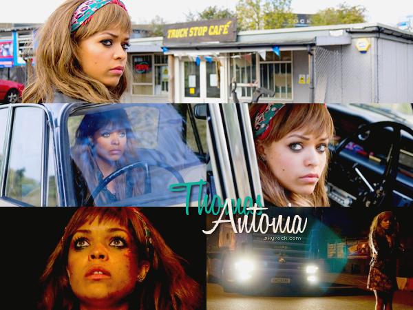 """. Antonia joue le rôle de Nicky dans le psyco-horreur film, Rearview.Nicky est une jeune femme voyageant seule pour rencontrer ses membres du groupe - à travers les routes de la campagne britannique - qui échappe aux griffes d'un étranger dangereux. Son voyage sur la route se transforme rapidement en horreur. Elle essaye de survivre pour sa vie ; elle tente d'échapper à un tueur en série et les hordes de prédateurs locaux dans la zone connue sous le nom """"La route des Larmes».   ."""