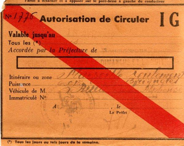 Autorisation de circuler pour automobile