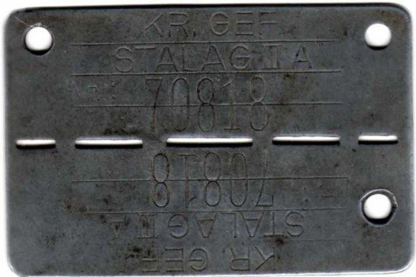 plaque d'identite prisonnier Français