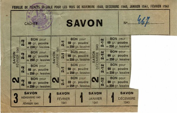Feuille de tickets de savon
