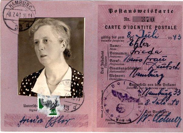 carte d'identité postale 1940