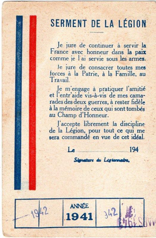carte de la légion française des combattants