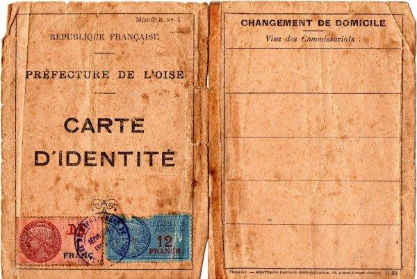carte d'identité française 1939