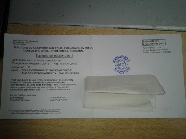 Election communale et provinciale 2012: A voter!