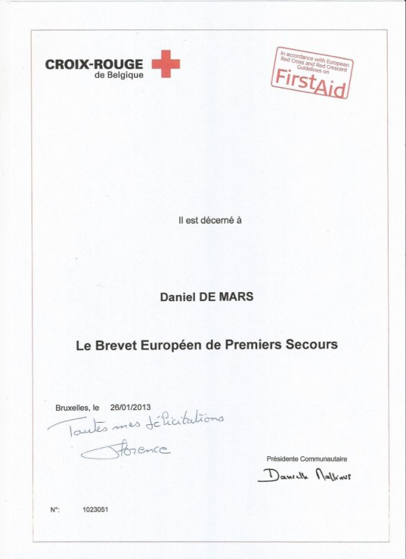 03.03.2013 - Brevet européen de premiers secours