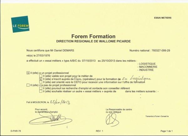 25.10.2013 - Une nouvelle fois breveté par le Forem Wallonie-Picardie