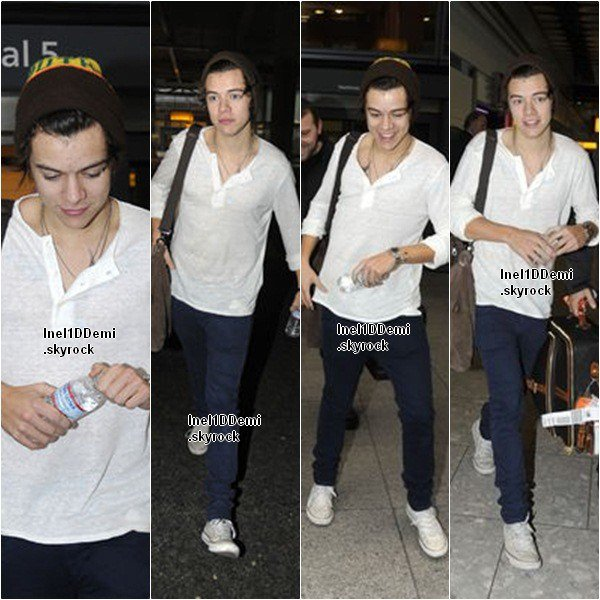 Harry a atterri à l'aéroport d'Heathrow, hier matin.