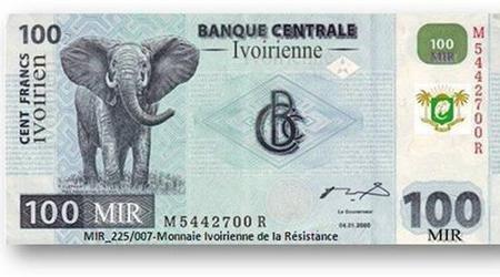 La nouvelle monnaie de l'Etat souverain de Côte d'Ivoire, le Franc Ivoirien ou l'Ivoirien, prête à être mise sur le marché