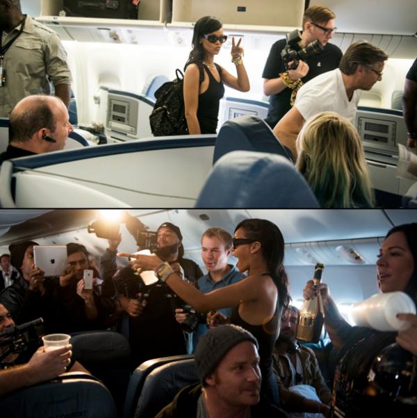 Rihanna dans son Jet pour le 777 tour